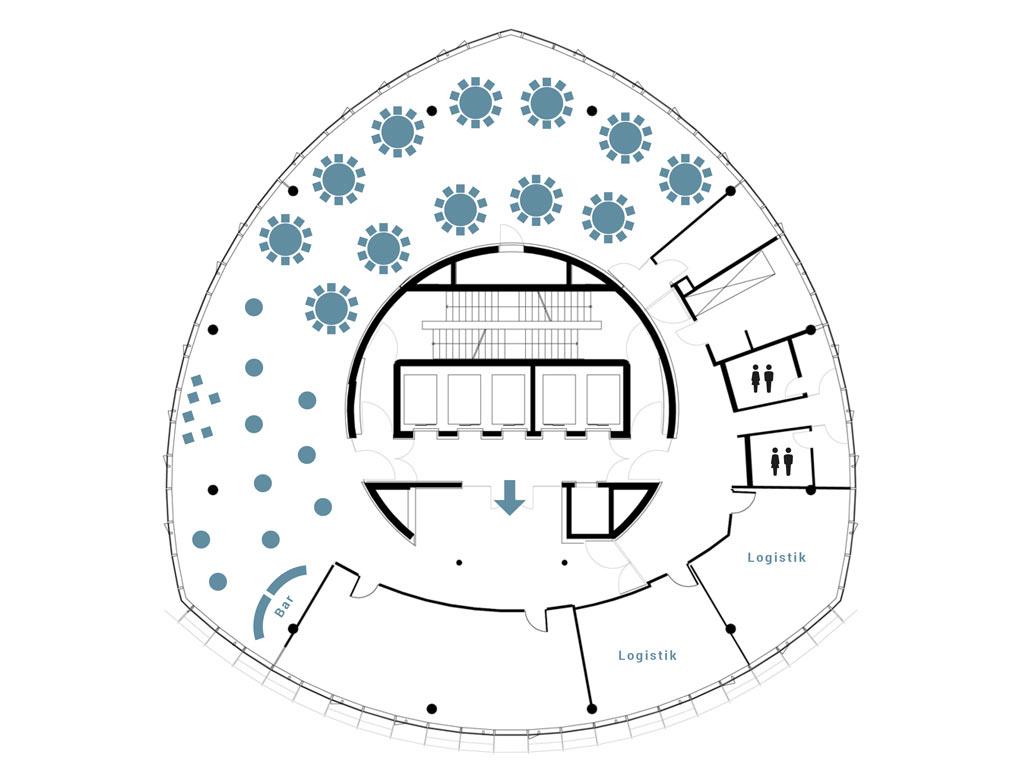 KölnSKY Empfangsbereich & runde Tische